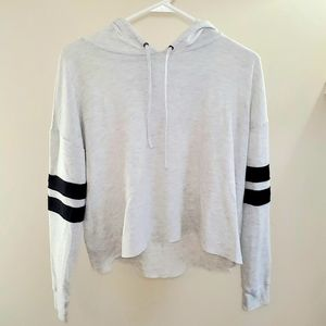Cropped White and Black Hooded Long Sleeve Tee
